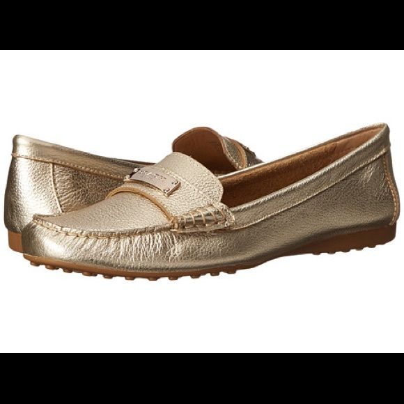 COACH Womens Amberp Platinum Metallic Tumbled - Loafers